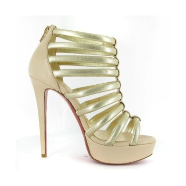 Christian Louboutin Red Bottom Romaine 140 Platform Sandal Booties Nude