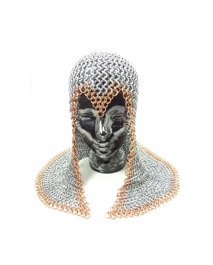 Halloween Costume Knight's Chainmaille Armor Coif Galvanized Steel Trimmed In Copper. $195.00, via Etsy.
