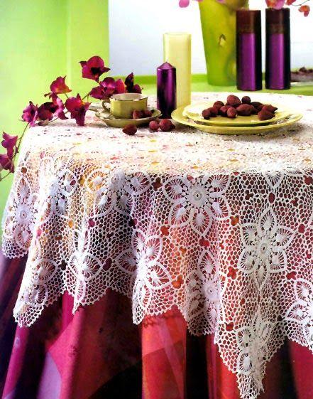 tejidos artesanales en crochet: mantel redondo festival de flores