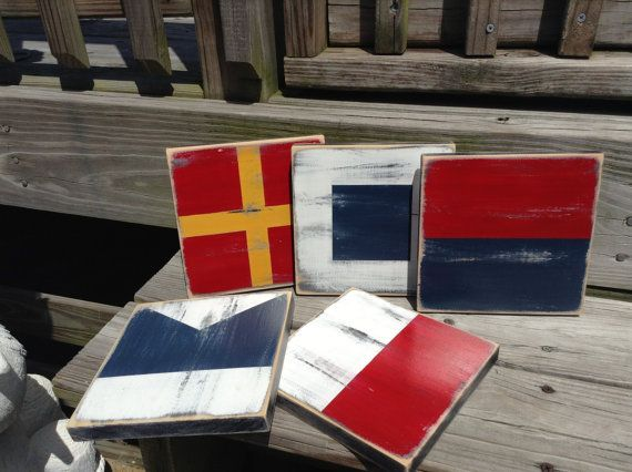 Nautical Flag Code Signs 7x7 CUSTOM Boating by justbeachyshop