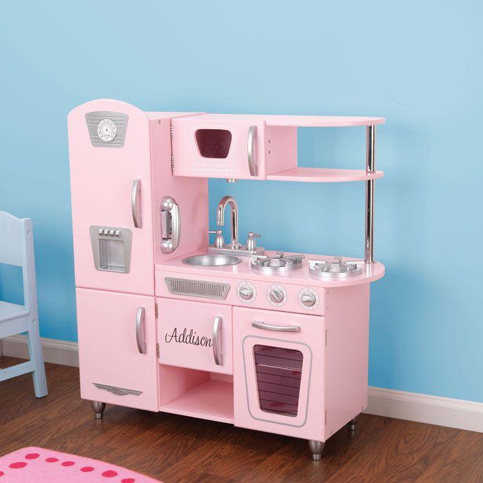 Kidkraft personalized pink vintage kitchen for kids www for Lit kidkraft