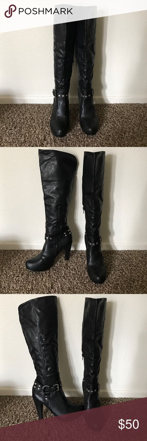 Guess black leather knee-high boots size 6 Guess black leather knee-high boots size 6 G by Guess Shoes Heeled Boots