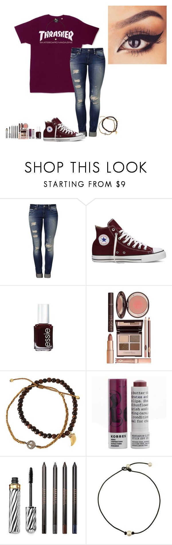 """QOTD:What do you like on your burgers?"" by amaya-leigh ❤ liked on Polyvore featuring Mavi, Converse, Essie, Charlotte Tilbury, Tai, Korres and Borghese"