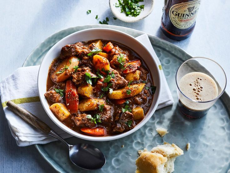 Beef and Guinness Stew | This hearty beef stew is made with lean boneless chuck that's cooked with carrots, parsnips and turnips and flavored with dark beer. Simmering it in a Dutch oven for about 2 hours makes the meat and vegetables fork tender and delicious.