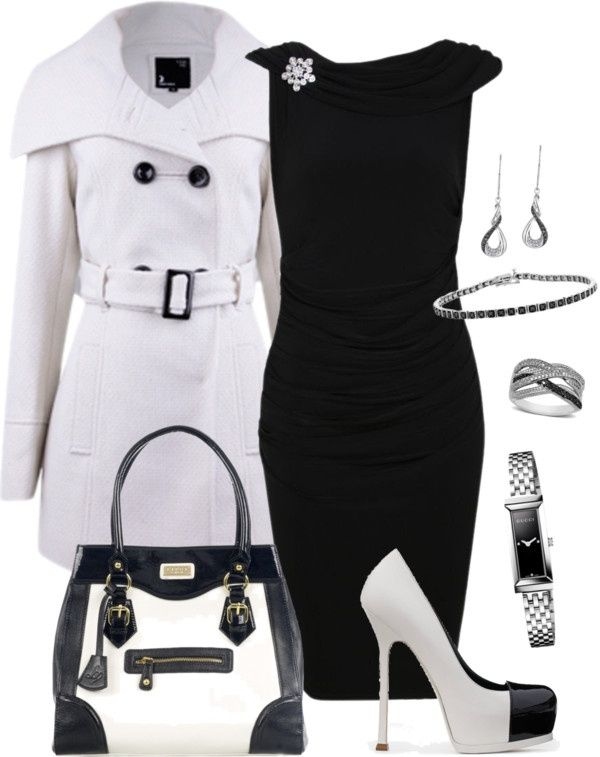 """polyvore dresses in black and white 