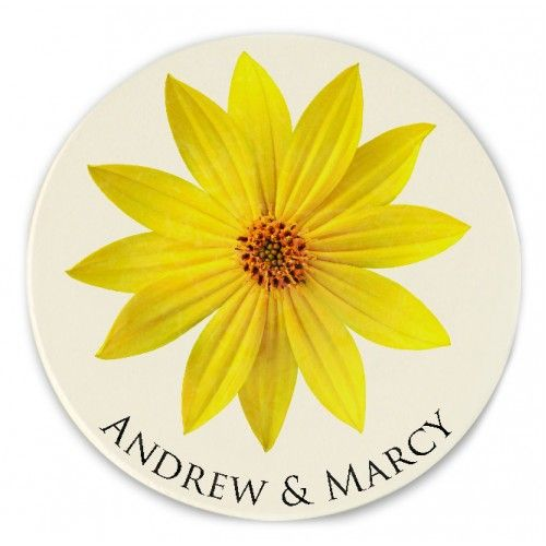 Personalized Yellow Daisy Wedding Coasters Unique Gift Or Favors For A Garden