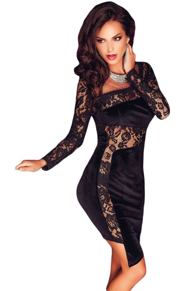 19ba0eeb39f2 New 2017 Autumn Sexy Women Fashion Party Dress Night Club Long Sleeve  Asymmetric Lace and Velvet