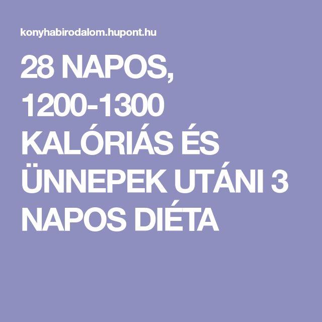 28 NAPOS, 1200-1300 KALÓRIÁS ÉS ÜNNEPEK UTÁNI 3 NAPOS DIÉTA