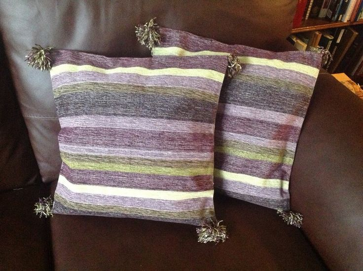 New 2 Handwoven Cushion Covers Cotton Purple Mauve Green Stripe