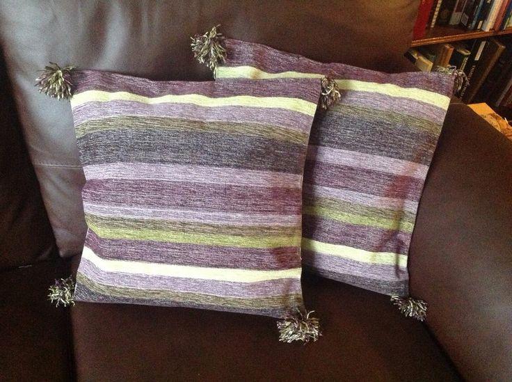 New 2 Handwoven Cushion Covers Cotton Purple Mauve Green Stripe