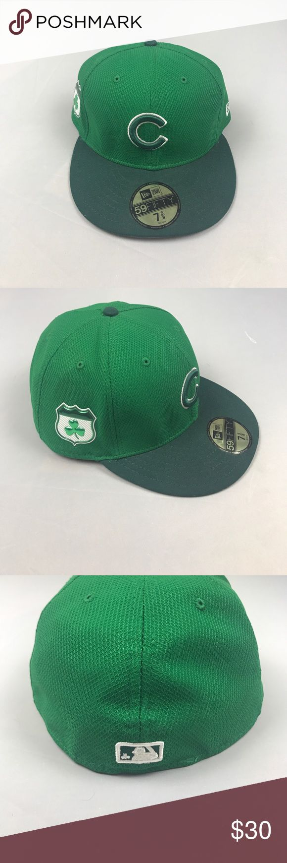 Chicago Cubs New Era Fitted 59FIFTY 7 5/8 Hat New with tags Chicago Cubs St. Patty's day Spring Training Hat                                                                                              🍀Fitted hat                                                                               🍀From 2017 Spring Training                                                  🍀Size 7 5/8 .                                                                            🍀Open to reasonable offers 😃 New…