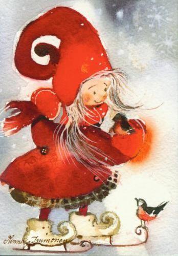 Иллюстрации художников.Новогодние акварельки Minna Immonen