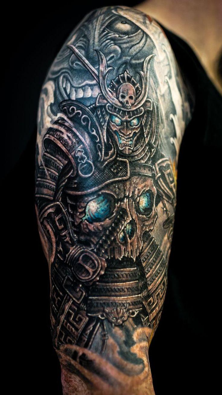 Chronic ink tattoo toronto tattoo skull samurai and hannya mask by winson