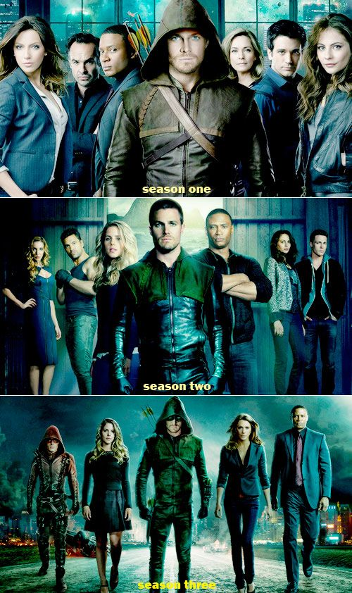 Arrow poster: Seasons 1-3  They keep getting farther away. By season 10 there might not be anyone in the poster!