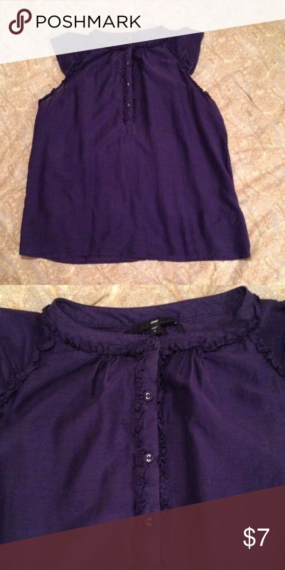 Gap top Deep purple Gap top. Button front placket and cap sleeves. Narrow ruffle around neck. 70% cotton and 30% silk blend. Machine washable. Great condition. GAP Tops