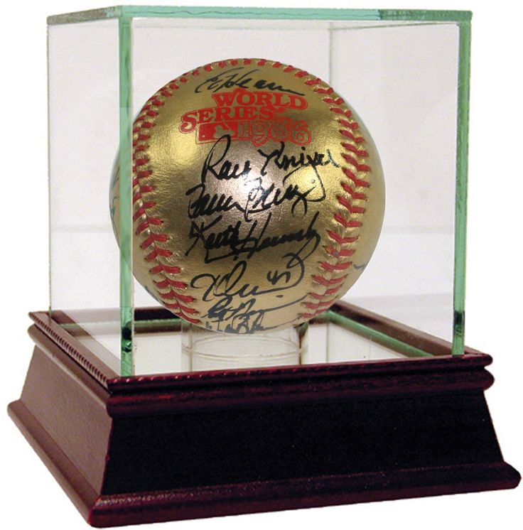 1986 New York Mets Team Signed 1986 Gold World Series Logo Baseball (28 Signatures)