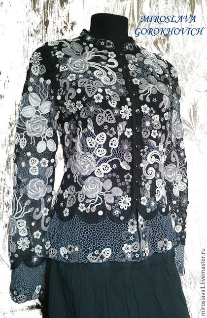 """Купить Жакет"""" Сударыня"""" - черный, цветочный, ирландское кружево, Вязание крючком, авторская ручная работа"""