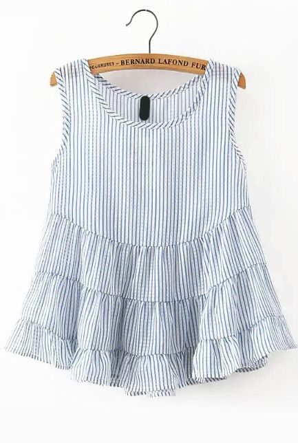 Vertical Striped Peplum Hem Blue Tank Top 11.83