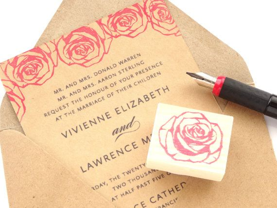 Rose Stamp Flower Wedding Rubber Red By Aneserubberstamps