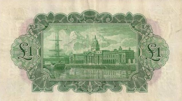 £1 Consolidated Banks - reverse design, showing The Custom House, Dublin