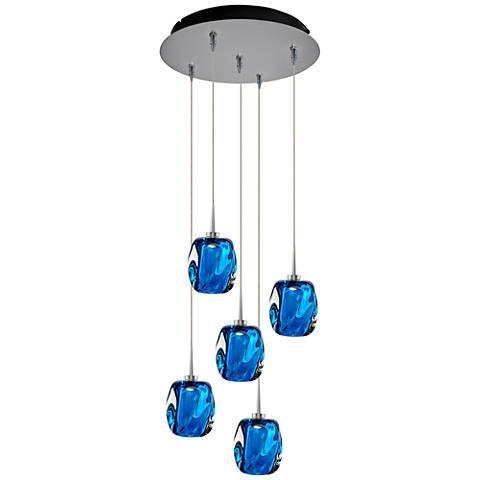 Aurora 4 1 2 Wide Blue Glass LED Multi Light Pendant