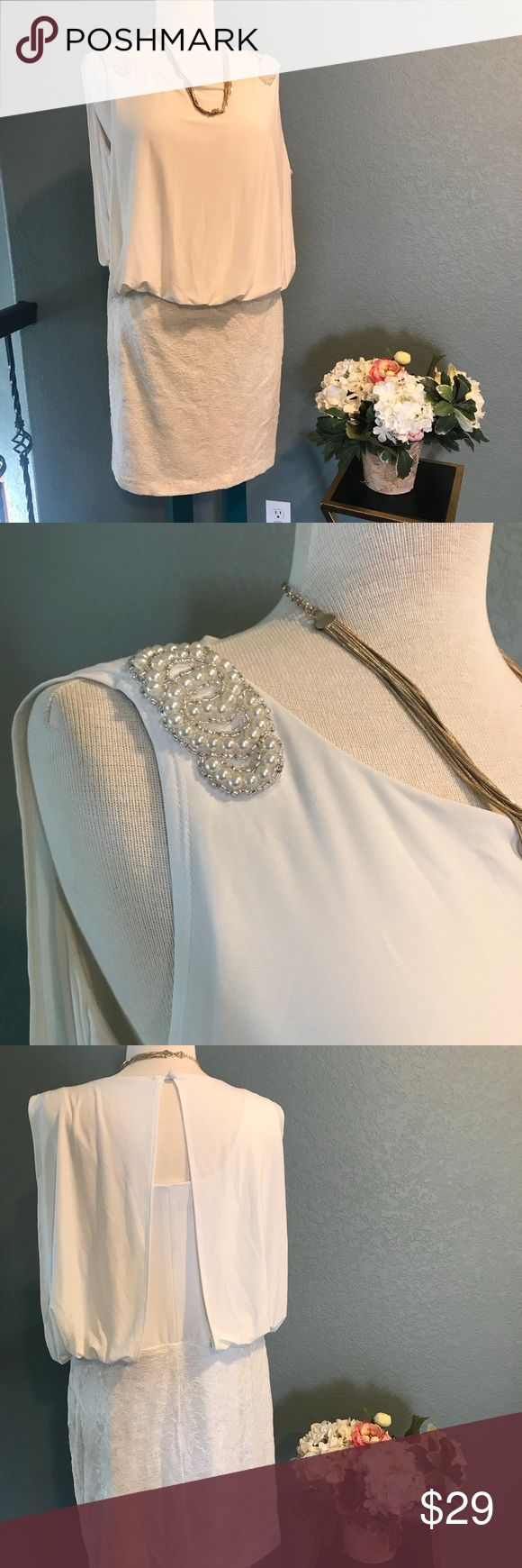 Perfect Party Dress Gorgeous cream dress with pearl detail.  Perfect for holiday parties. Scarlett Dresses Mini