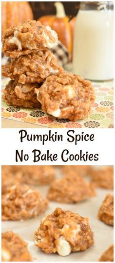 Pumpkin Spice No Bake Cookies are packed with cozy fall spices and plenty of white chocolate chips! They are the easiest fall dessert!