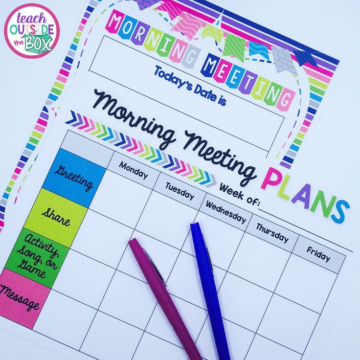 FREE planning forms and display poster for Morning Meeting!
