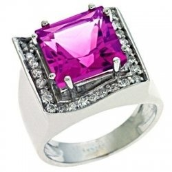 Pink Tourmaline ring, lots of bling