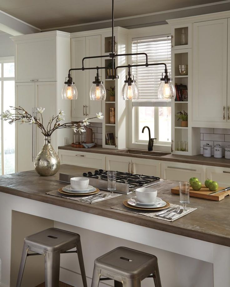 beautiful Kitchen Islands Lighting #4: Influenced by the vintage industrial designs of early Century America, the  transitional Belton lighting collection by Sea Gull Lighting has Seeded  glass ...