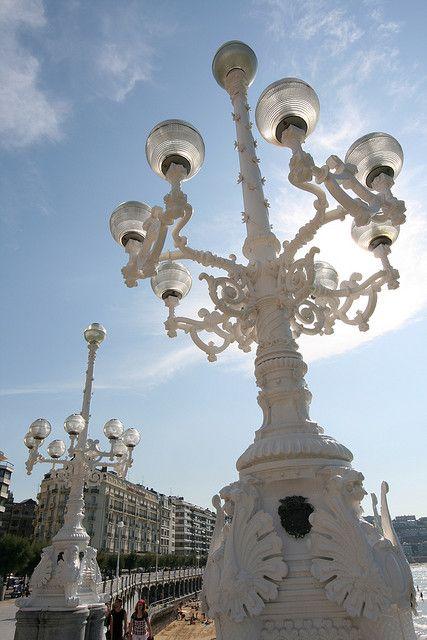 Lampposts by Playa de La Concha, San Sebastian, Spain