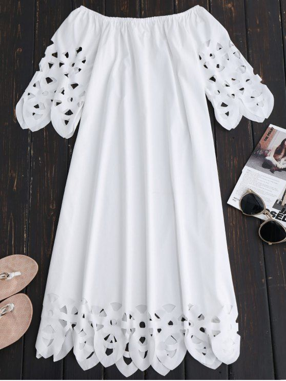 $18.49 Off The Shoulder Flared Dress - WHITE S