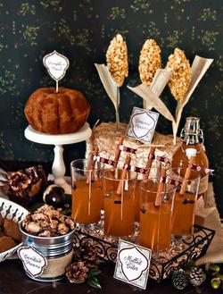 Autumn Harvest Dessert Table Caramel Corn Stalks #fall #Thanksgiving #printables #pumpkin #apple #pear #cider #acorn #chestnut