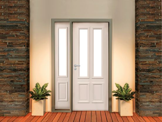 Classic Entry door in white with lead-light glass panes. Could look really good & 39 best Our Build - House Exterior images on Pinterest | Build house ...