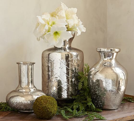 green and mercury glass Kingsley Etched Mercury Glass Vases | Pottery Barn