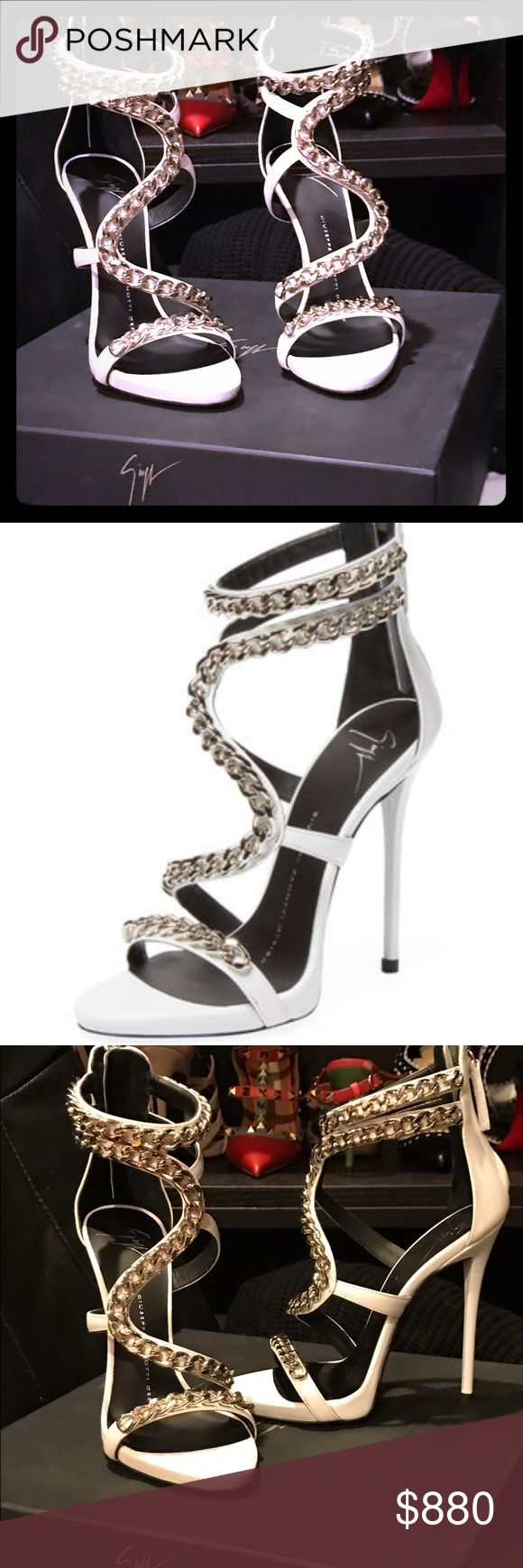 """⚡️FLASH SALE⚡️Giuseppe zanotti leatherchain $1595 ⚡️FLASH SALE ⚡️100% authentic guaranteed. Height 4.75"""", leather upper, chain-link details, leather insole. Made in Italy. Original price $1595 + tax Giuseppe Zanotti Shoes Heels"""
