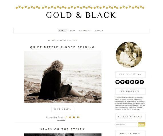 Blogger Template black and gold Design  by DigitalBeautiful