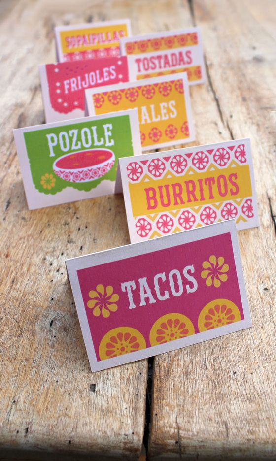 Free Mexican Food signs for your fiesta! happythought.co.uk/day-of-the-dead/mexican-food-signs