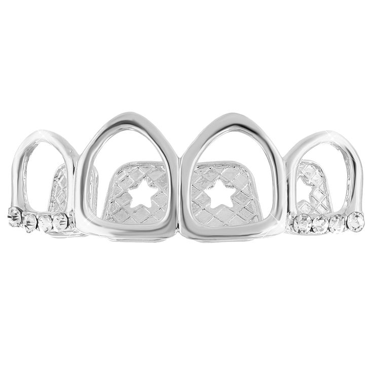 Cut Out Lab Diamond Top Grillz 14k White Gold Finish