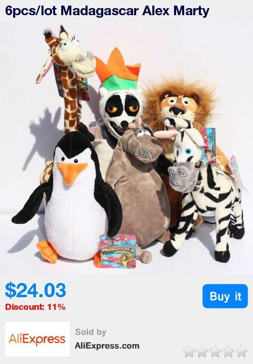 6pcs/lot Madagascar Alex Marty Melman Gloria Plush Lion Zebra Giraffe Monkey Penguin Hippo Stuffed Soft Toy * Pub Date: 04:05 Aug 7 2017