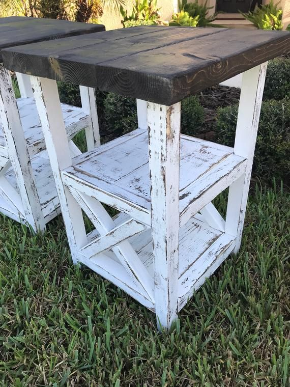 Wade Farmhouse End Table Set Rustic Country Furniture Rustic Furniture Diy Farmhouse Furniture Diy