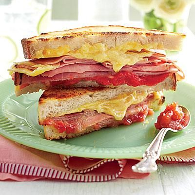 Grilled Ham-and-Cheese Sandwiches with Strawberry-Shallot Jam | The secret is all in the Strawberry-Lemonade Jam. Use roasted turkey instead of ham, if you prefer. | SouthernLiving.com
