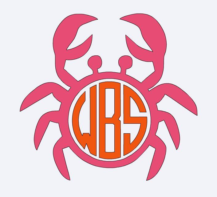 Car Decal Ideas >> Crab, Beach Vacation, Beach decal, Summer decal, Summer vinyl , iron on, crab monogram, Summer ...