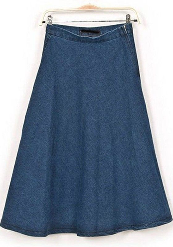 blue plain high waist below knee denim skirt