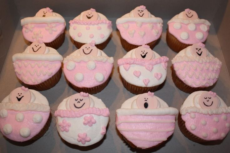 Easy baby shower cupcakes for girls quotes pinterest for Baby shower cupcake decoration ideas