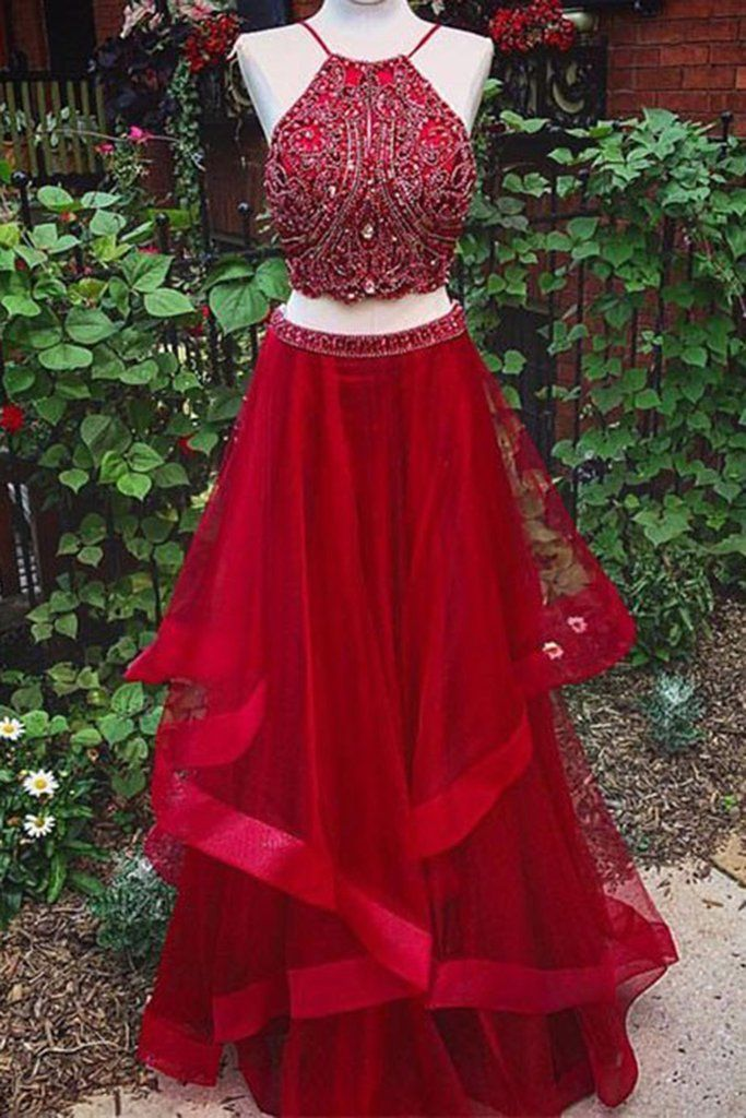 Luxury red tulle beading two pieces halter A-line long prom dresses ,new design dresses
