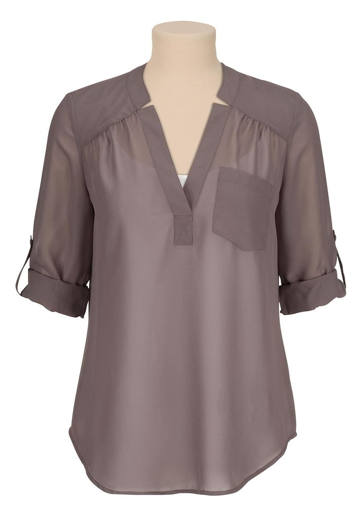 3/4 sleeve chiffon blouse with pocket - maurices.com-- Have it in a pattern and LOVE it. Want it in every color!!