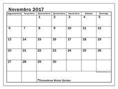 Resultado de imagem para calendário 2017 novembro português
