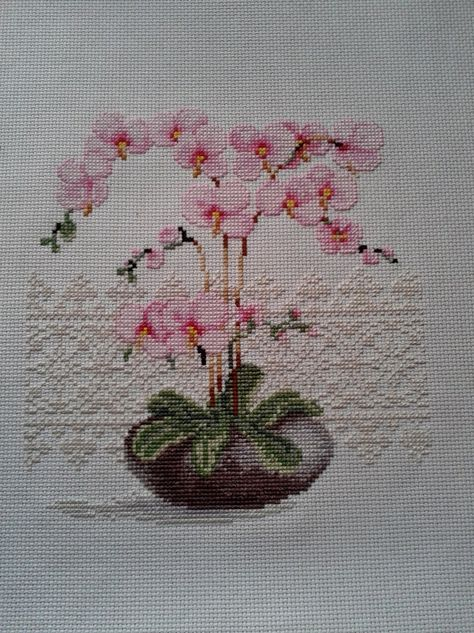 orchidées, I really like the lace background on this design.
