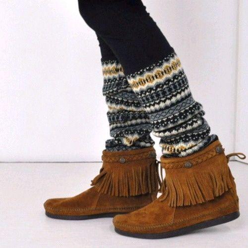 leg warmers + moccasins
